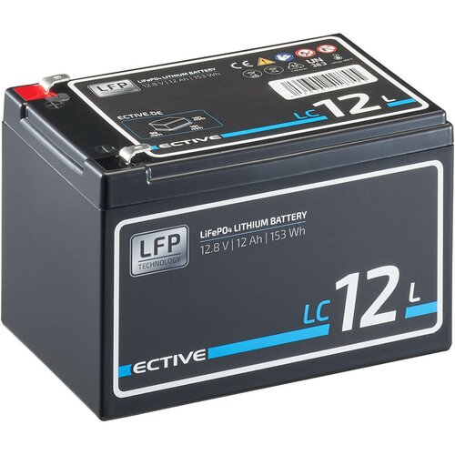 ECTIVE LC 12L 12V LiFePO4 Lithium Versorgungsbatterie 12 Ah